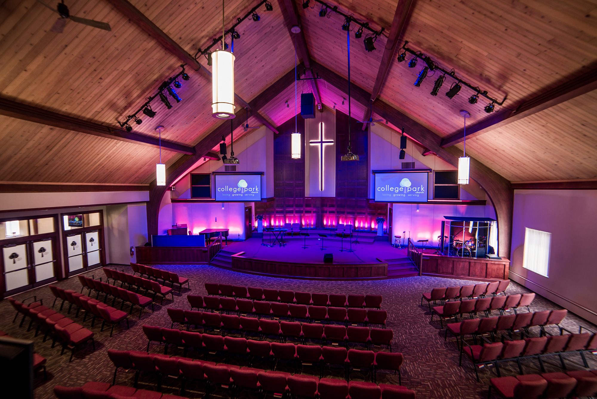 This upgrade to the video lighting and audio capabilities has enhanced the visual appeal of the sanctuary. & College Park Church | Michael Kinder u0026 Sons